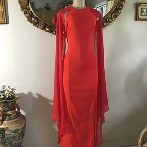 80s Red Bodycon Evening Dress